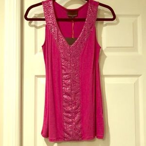 NWT Cynthia Rowley magenta top with sequin detail